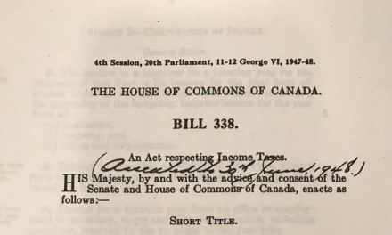 1948: Income Tax Act, created as an order-in-council
